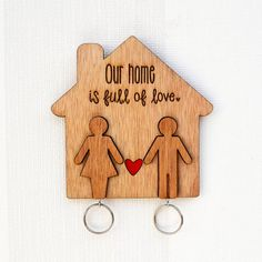 Wooden Key Holder people key chains laser by MissBoldDesign