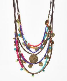 Look what I found on #zulily! Fuchsia & Blue Mult-Strand Coin Bib Necklace #zulilyfinds