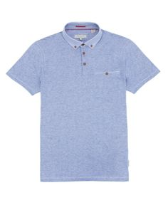 Plaid collar polo - Bright Blue | Tops & T-Shirts | Ted Baker