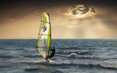 Download imagens Windsurf, Esporte radical, mar, ondas, noite, pôr do sol, vento