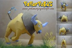 Paperpokés - Pokémon Papercrafts: TAUROS (Chinese New Year 2021) I really like this pokemon for some reason .3.  Pokemon, Papercraft Tauros for kids, Papercraft Tauros, Papercraft, awesome, cute, cool, nintendo, Tauros