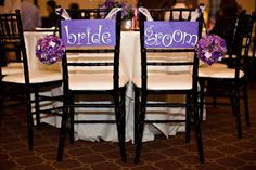 Bride and Groom chair signs - Purple
