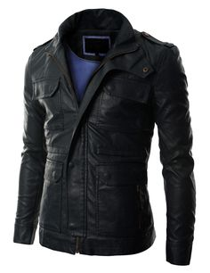 Mens Casual Leather Shoulder Strap Jacket (GA30)