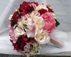 Silk Bridal bouquet in pink and burgandy