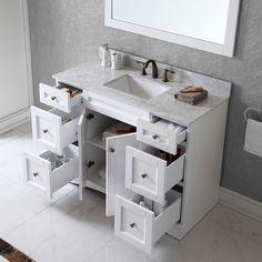 Virtu USA Elise 48 inch Single Sink White Vanity with Carrara White Marble Countertop with Backsplash