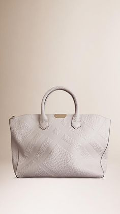 Stone white Medium Embossed Check Leather Tote Bag - Image 1