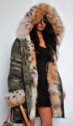 army parka lined in lynx fur                                                                                                                                                                                 More