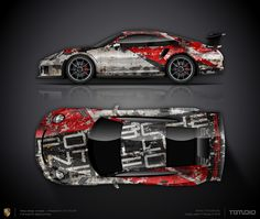 Wrap design concept #37 peeling paint livery design for Porsche 911 GT3 RS 991 for sale (can be adapted to any car)