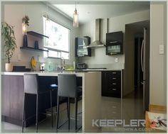 Recuerda que puedes optar por poner vidrio templado en tu cocina integral y se vera mas moderna.