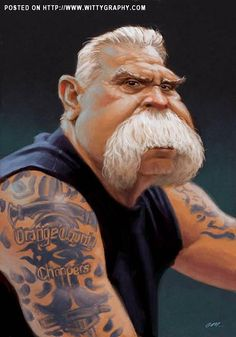 """Paul Teutul, """"Orange County Choppers""""- this used to be one of my Favorite Tuesday night shows. sure do miss them - it was so sad watching them fall apart - what happened? Funny Caricatures, Celebrity Caricatures, Celebrity Drawings, Cartoon Faces, Funny Faces, Cartoon Art, Caricature Artist, Caricature Drawing, Famous Cartoons"""