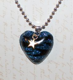 Black and blue glitter zebra strip heart resin pendant with star charm