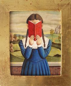 Girl with Red Book Gold Frame by Beerhorst