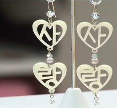 사랑 (sarang, love) Korean Hangul earrings by http://okitokki.com
