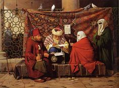 Rorbye, Martinus (1803-1848) - 1837 A Turkish Notary Drawing up a Marriage Contract in Front of the Kilic Ali Pasha Mosque, Tophone, Constantinople