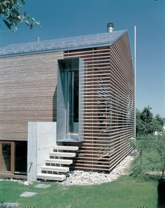 Gorgeous cladding. This whole end gable let's light through the slats but not direct heat. Great sustainable detail. www.methodstudio.london