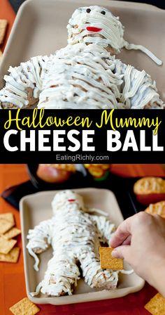 Halloween Themed Food, Halloween Party Appetizers, Healthy Halloween, Halloween Foods, Spooky Halloween, Halloween Cheese Ball Recipe, Comida De Halloween Ideas, Food Themes, Food Ideas