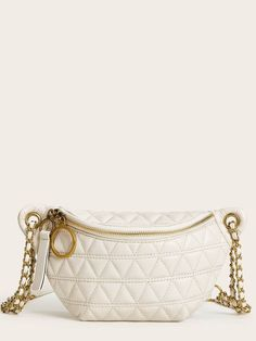 Quilted Zip Front Fanny Pack Bum Bags, Fanny Pack, Zip, Tags, Bracelets, Gold, Jewelry, Women, Fashion