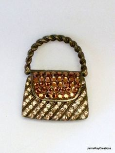Vintage Topaz Rhinestone Pave Miniature Purse Brooch from JamieRayCreations, $14.50 https://www.etsy.com/listing/171709493
