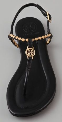 Black and gold sandals.  #toryburch