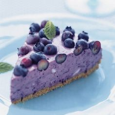 Blueberry Icebox Pie Recipe Desserts with vegetable oil cooking spray, graham cracker crumbs, butter, fresh blueberries, fresh lemon juice, unflavored gelatin, reduced fat cream cheese, fat free cream cheese, sweetened condensed milk, fresh mint