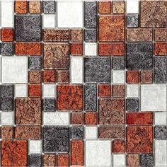 Autumn Hong Kong Foil Modular Mix Glass Mosaic Tiles Sheet. The richly textured bronze, red and orange set against the cooler tones of black and grey guarantee a tile which will bring depth to any kitchen or bathroom surface.