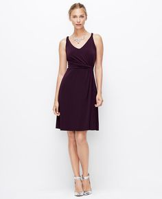 Petite Jersey Twisted Shoulder Strap Dress   Ann Taylor