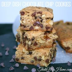 Recipes, Food and Cooking Best Ever Deep Dish Chocolate Chip Cookies. Try these just once and I know they will become a family favorite recipe!!! I'd rather have these than a chocolate chip cookie.