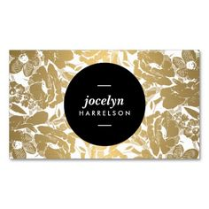 A traditional floral pattern is made modern with a faux metallic gold and white color scheme. The centered black circle highlights your name or business name on this modern business card template. © 1201AM CREATIVE