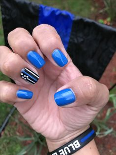 My Thin Blue Line nails for National Police Week 2017 honoring officers who paid the ultimate sacrifice. I will always be thankful and supportive of our peacemakers who selflessly put the welfare of others above their own. Above all, very special thank you to my other half, my hero, my rock, my husband! #NationalPoliceWeek2017 #PoliceWeek2017 #HonorTheFallen #BlueLivesMatter #BackTheBlue #WeSeeYou #ThinBlueLine #LawEnforcement #BlueFamily #PoliceWife #ThinBlueLineNails
