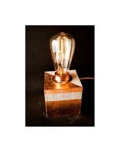 "Industrial concrete copper table lamp, lindustrial lighting, Desk lamp, Edison lamp, Concrete light, Table lamp, Model ""Concrete cube III"""