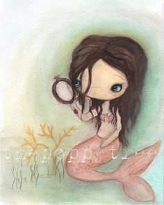 Mermaid Print--- Mermaid In The Mirror. $16.00, via Etsy.