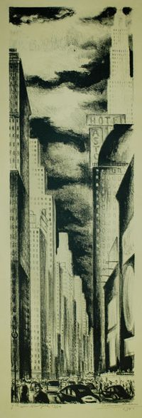 Adriaan Lubbers 42nd Street, New York Lithograph 17.25 x 18.75 1944