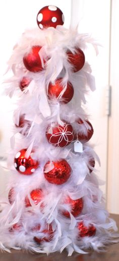 Glamour Christmas / karen cox. Feather tree with ornaments.