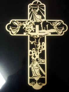 Easter Cross laser wooden cut out by LCMLaserEngraved on Etsy, $10.00