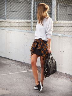526fae461f Rolled up sweater + black mini skirt + flannel around the waist + black  slip-