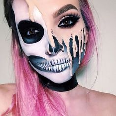 Looking for for ideas for your Halloween make-up? Check out the post right here for cool Halloween makeup looks. Cosplay Makeup, Costume Makeup, Sfx Makeup, Beauty Makeup, Mask Makeup, Makeup Art, Hair Beauty, Sugar Skull Makeup, Makeup Ideas