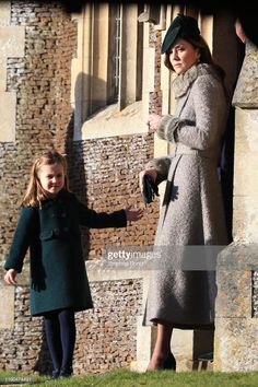 Catherine, Duchess of Cambridge and Princess Charlotte leave after attending the Christmas Day Church service at Church of St Mary Magdalene on the Sandringham estate on December 2019 in King's Lynn, United Kingdom. Duchess Of Cornwall, Duchess Of Cambridge, Military Style Coats, Kate Middleton Photos, Swing Coats, Prince William And Kate, Prince Edward, Court Heels, Thing 1
