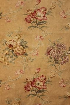 Lovely muted tones ~ upholstery fabric material ~ antique French curtain panel ~ www.textiletrunk.com