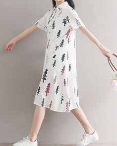 Women loose fitting over plus size retro trees pattern dress long maxi tunic #Unbranded #dress #Casual
