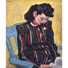 安井曽太郎, 読書|日本の美術|所蔵品/研究|新潟県立近代美術館  YASUI,Sotaro Reading 1942