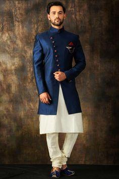 Royal Blue Woven Italian Indo Western Sherwani is part of Sherwani Sherwani Collar Stand Collar Sherwani Fabric Italian Sherwani Sleeves Full Sleeves Sherwani Work Woven Sherwani Slit Front - Mens Indian Wear, Mens Ethnic Wear, Indian Groom Wear, Indian Men Fashion, Groom Fashion, Indian Suits, Blue Sherwani, Sherwani Groom, Wedding Sherwani