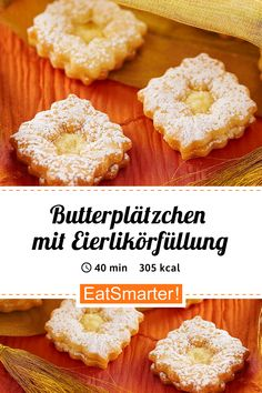 Bake Christmas cookies: Butter cookies with eggnog filling - smarter - calories: 305 kcal - time: 40 Best Christmas Cookies, Xmas Cookies, Holiday Baking, Christmas Baking, Easy Cake Recipes, Food Cakes, Food Inspiration, Food And Drink, Cooking Recipes