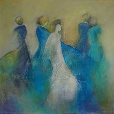 Vrouwen abstract blauw groen