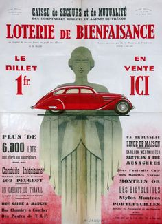 French Lottery, Original Art Deco Poster, 1937, Peugeot 402. Lovely artwork on a seventy year old poster, which is in lovely condition.