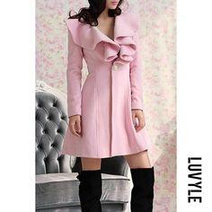 #Valentines #AdoreWe #Luvyle - #Luvyle Lapel Flounce Single Button Plain Coats - AdoreWe.com