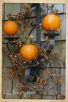 Fall Decor - porch ready for fall, crafts, seasonal holiday decor, The baby pumpkin wall sconce up close Fall Crafts, Holiday Crafts, Holiday Decor, Holidays Halloween, Halloween Crafts, Chic Halloween, Thanksgiving Decorations, Halloween Decorations, Halloween Candles