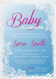 Personalized Baby It's Cold Outside Snow Shower Invitations **Need them today? DIY Printing Available**