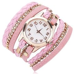Floriana Fashion Leather Bracelet Watch ❤ liked on Polyvore featuring jewelry, watches, watch bracelet, bracelet watch, leather watches, leather wrist watch and leather jewelry