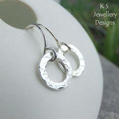 Textured Ovals Sterling Silver Earrings - Handmade Handstamped Metalwork  £22.00