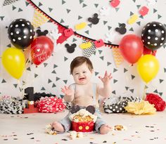 Baby boy in Disney themed baby cake smash photos by Brandie Narola Photography